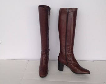 sz 7.5 n  vintage FERRAGAMO brownleather boots made in ITALY