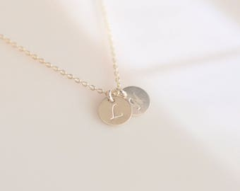 Tiny Personalized Disc Charm Necklace/ Initial Charm Necklace/ Dainty Charm Necklace
