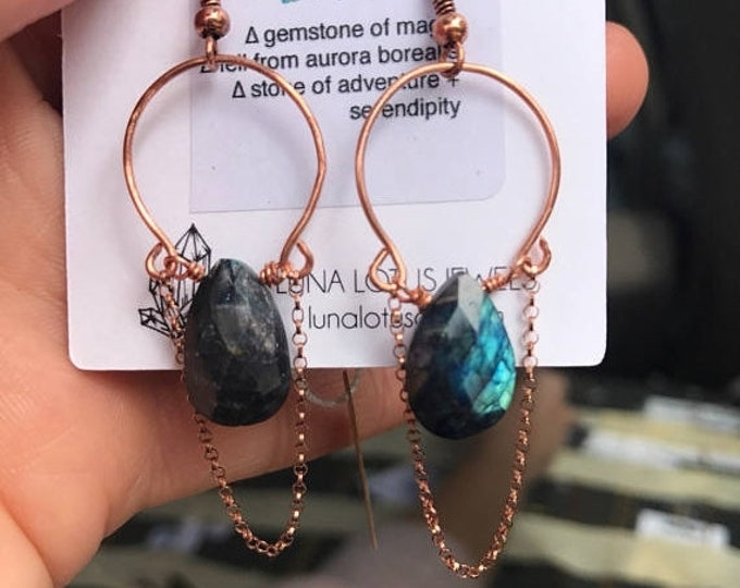 CLEARANCE SALE Labradorite Shooting Star Hoops / Rose Gold Copper Crystal Hoops with Dangle Chain Accent Earrings
