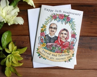 Wedding anniversary card, Wedding card, Custom couple portrait, Wedding anniversary gift, Watercolour illustration, Personalized gift.