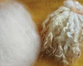 Natural white Cotswold lambswool curls and locks/ roving, carded wool fleece