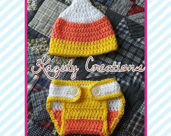Candy corn photo prop , Halloween costume ,  Halloween newborn photo prop , candy corn hat child , candy corn hat and diaper cover , candy