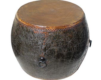 Distressed Black Lacquer Oriental Chinese Drum Table Cs2768S