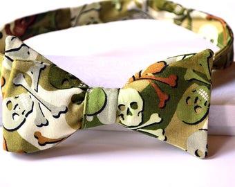 Skull Bow Tie - Camo Bow Tie - Skeleton Bow Tie - Camo Bowtie - Skeleton Bowtie - Green Bow Tie- Brown Bow Tie - Mens Bow Ties - Novelty Tie