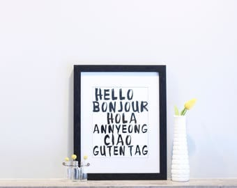 Hello Art Travel Print 8x10 Languages Bonjour Hola Annyeong Ciao Guten Tag