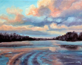 Lakeside Sunset, Impasto original Oil painting on  canvas, seascape painting/landscape, gift for him gift for her.
