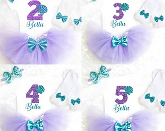 2nd Birthday Outfit Mermaid 3rd Birthday Mermaid Second Birthday Mermaid Third Birthday Shirt Seashell Birthday Outfit ANY AGE 33