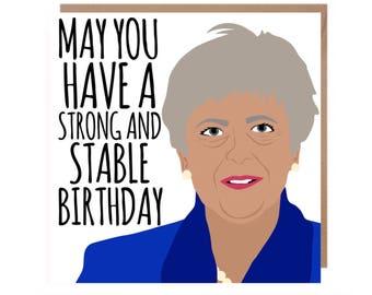 Teresa May Birthday Card • MayCard • Political Birthday Card • Funny Birthday Card • Funny Prime Minister Birthday Card • Conservative Party