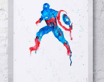 Captain America Marvel Watercolor Print