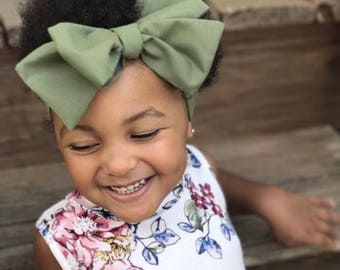 TIED, Olive Headwrap, Green Headwrap, Headwrap, Baby Headband Toddler Headwrap Big Bow Headband, Headwrap, Infant Headwrap, Baby Girl, Boho