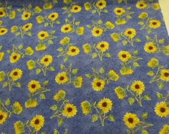 Blue Sunflowers Floral Printed 100% Cotton Craft Fabric.