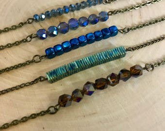 Bronze Beaded Bar Necklaces