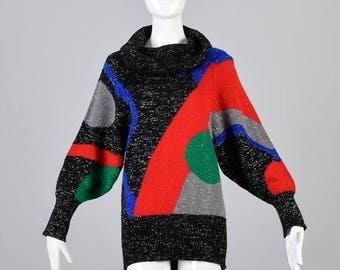 SALE Large 1980s Sweater 80s Color Block Geometric Knit Sweater Vintage Black Metallic Oversized Slouch Knit Sweater Cowl Neck Cozy Casual