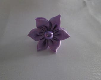 Purple satin flower ring