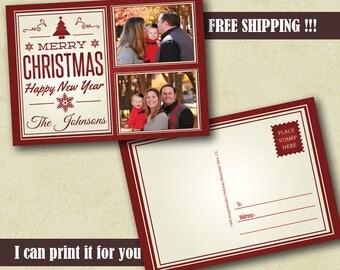 50+ Photo Greetings Christmas Postcard Christmas Cards Templates Custom Christmas Greetings Card Personalized Christmas Photo Card Holiday