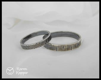 His and Hers. Birch bark Sterling silver wedding ring set, made at your size. Wedding bands, engagement ring, ring for men. Rustic wedding.