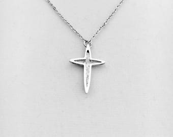 "Vintage silver retro cross, child's cross, ladies layering cross necklace, small 1"" lg silver rhodium plated cross w/18"" chain"