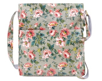 SALE! Crossbody College laptop Bag - Floral bag - Oilcloth computer school bag - Work messenger bag - Ladies University bag- Laminated purse