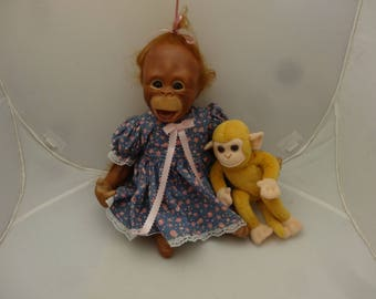"Reborn Chimp Baby Doll by Pookey, 16"" Cute, Cuddly, Furry"