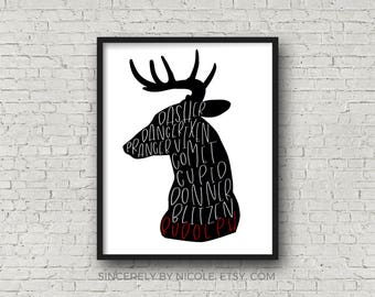 Christmas Printable, Rudolph, Deer Print, Stag Print, Printable Christmas, Deer Art, Deer Print, Holiday Printable, Deer, Christmas Carol