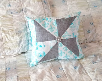 Bird Cage and Fleur-De-Lis Quilted Pillow