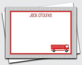 Fire Truck Notecards for Kids / Firetruck Note Cards for Boys / Transportation Stationery Set / Custom Blank Stationary (Item #1702-032FL)