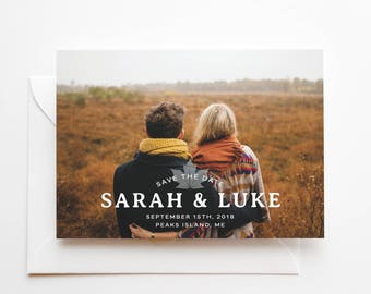 Printed Photo Save the Date Cards - Maple Leaf - Fall Wedding - Full Bleed Photo - Photo Overlay - High Quality Printed Cards and Envelopes