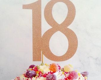 18 cake topper, cake topper, 18 glitter cake topper, 18 cake decoration, eighteen party decor, cake decoration