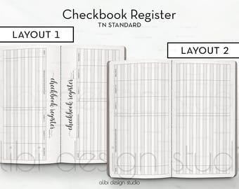 Standard TN, Checkbook Register, Finance Planner, Travelers Notebook, Budget Planner, Midori Insert, Monthly Planner, Bullet Journal