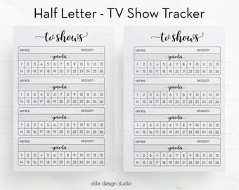 Tv Shows, Half Letter, TV Show Tracker, Tv Tracker, Half Size Planner, Tv Show Manager, Printable Planner, Tv Show Organizer, Half Size