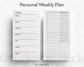 Weekly Planner, Personal Planner, Weekly Inserts, Printable Planner, Personal Insert, Habit Tracker, Personal Filofax, Meal Planner, Workout
