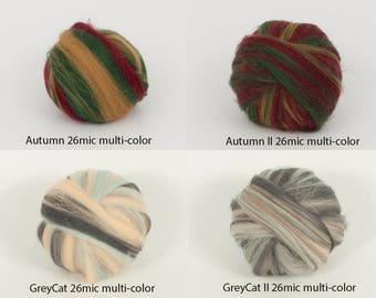 Choice for 26mic merino multi-color tops. 50gr (1.76oz) For needle felting, wet felting, spinning, roving for felting. 100% wool.