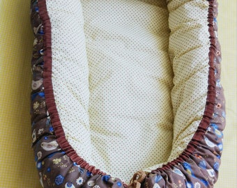 Baby cocoon/cosleeper/eco friendly baby/organic cotton baby/baby nest/Baby shower gift/Baby Bed/Baby Sleep/Travel Bed/birds print