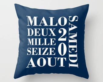 Birth date pillow etsy personalized throw pillow birth gift with name and birth date in french baby shower negle Gallery
