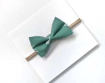 Tuxedo Bow Headband- Baby Girl Headband- Nylon Headband- Baby Bow- Toddler Hair// FOREST GREEN
