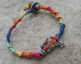 Multicolor Rainbow handmade hemp macrame anklet with flower charm & small rose quartz crystal