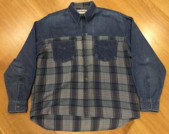 McGregor Vintage Denim Flannel Checkered LS Button Front Shirt Green Mens Medium