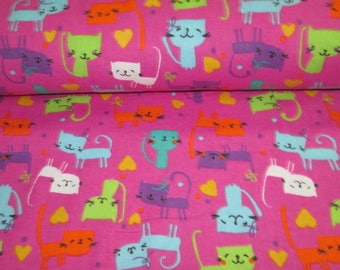 Fabric flannel, cotton flanel fabric pink floral cat cat