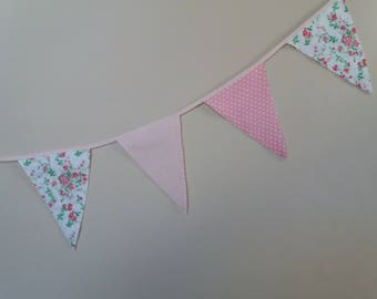 Party Garland (10 Flags) - Bunting Garland - Garland Banner - Bunting Flags - Cotton Garland Handmade Fabric Bunting - Pretty Pink  Baby