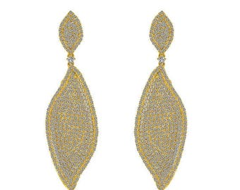 ON SALE 4.00 Carat Micro Pave Chandelier Earrings set it 18K Yellow Gold over Silver