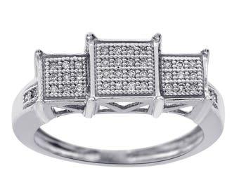 0.10 Carat Round Cut Diamond Triple Square Ring 10K White Gold