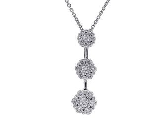 1.00 Carat Round Diamond Floral Cluster Journey Pendant 14K White Gold