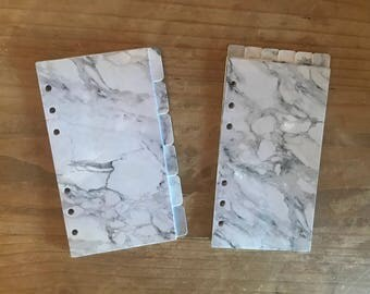 Marble grey planner dividers. Available in pocket, personal, recollections, day planner, A5, and happy planner sizes.