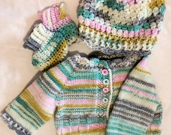 Hand Knit Baby Sweater Set 0-3 months