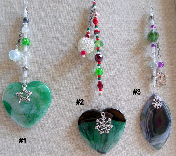 Christmas gemstone ornament - snowflake tree agate pendant - silver holiday charms - beaded decor ideas - green heart -  Lizporiginals