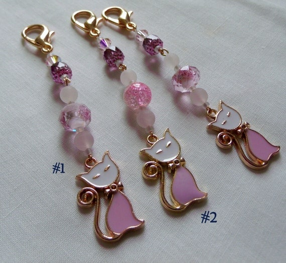 French cat zipper pull - Gold tone katzen charm - pink beads - teardrop gold - crystal beads - enamel cat - purse clip - party favors