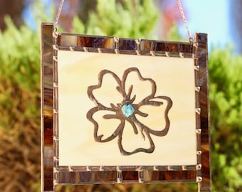Stained Glass Window Hanging - Flower with Turquoise Stone