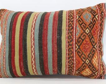 16x24 Turkish Kilim Pillow Boho Pillow Sofa Pillow 16x24 Striped Embroidered Kilim Pillow Floor Pillow Cushion Cover  SP4060-587
