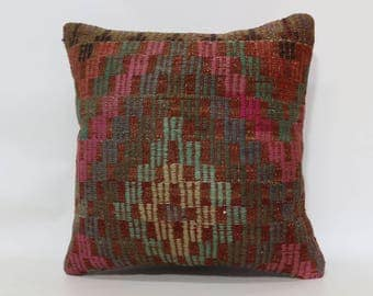 Embroidered Kilim Pillow Sofa Pillow Anatolian Kilim Pillow 20x20 Naturel Kilim Pillow Throw Pillow Home Decor Cushion Cover  SP5050-1857
