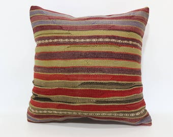 20x20 Striped Kilim Pillow Sofa Pillow Naturel Kilim Pillow 20x20 Decoraive Kilim Pillow Home Decor Cushion Cover SP5050-2040